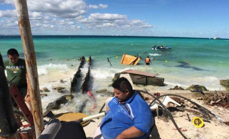 Continúan los remedios a la línea submarina de CFE en Isla Mujeres
